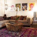 Bohemian coffee table a tree stump coffee table paired with a