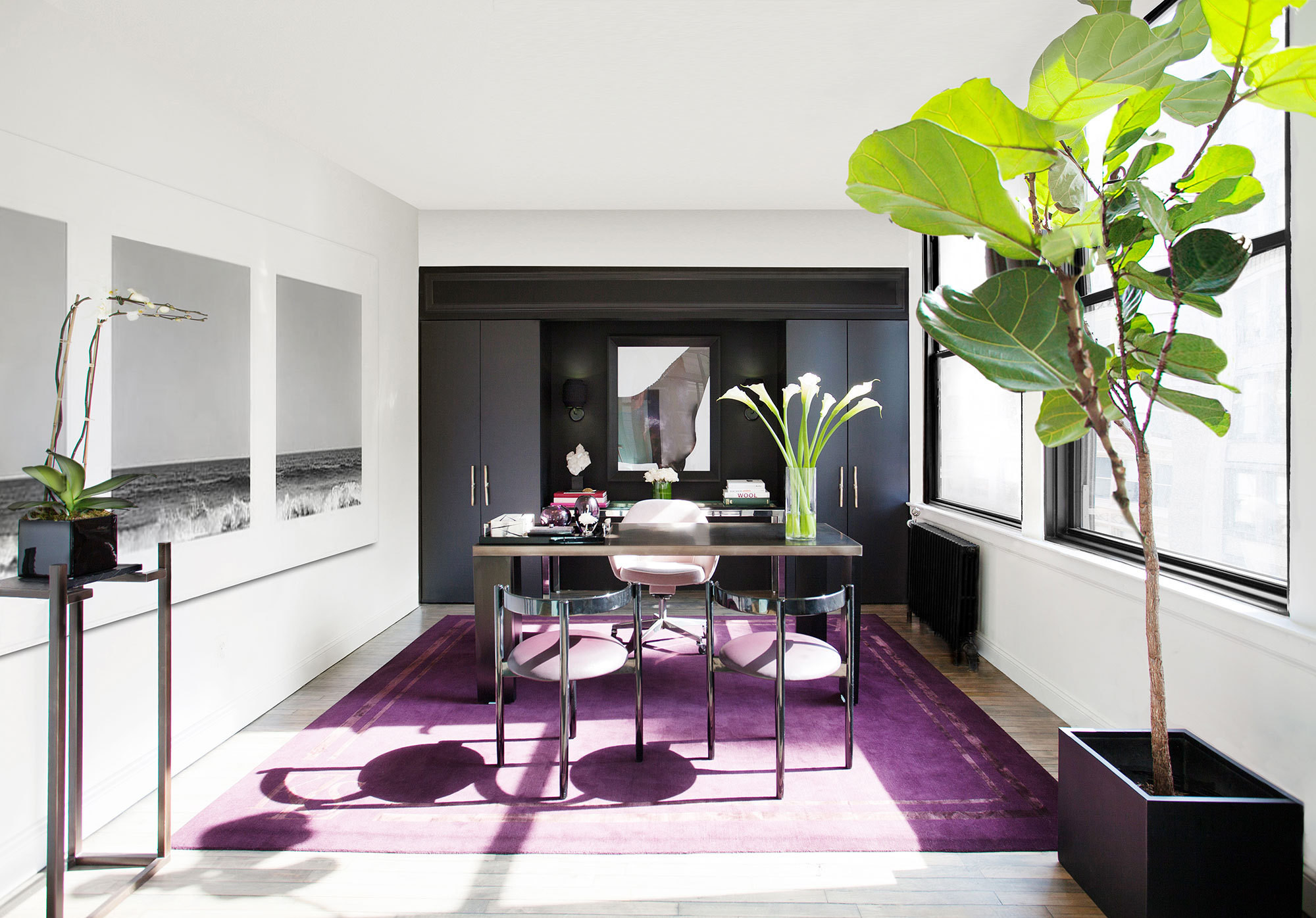 feminine executive office chairs hickory chair sleeper sofas kimora lee simmons s fashion headquarters celebrity home lonny a rich purple rug covers the floor of nbsp an in designer