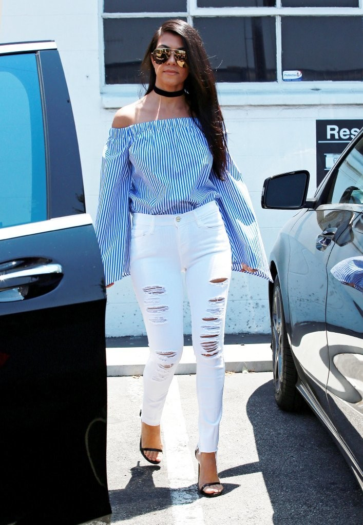 Kourtney Kardashian Off The Shoulder Top Newest Looks