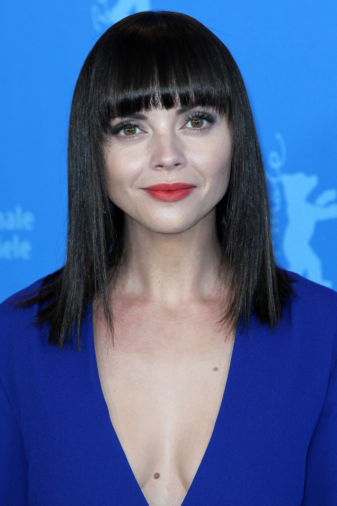 Christina Ricci Medium Straight Cut With Bangs Christina