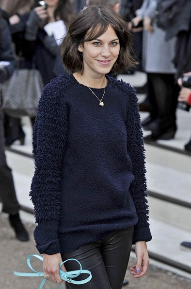 Alexa Chung Arrivals for the Burberry Prorsum show at Kensington Gardens as part of London Fashion Week.