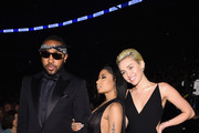 (L-R) Music Producer Mike Will Made It , recording artist Nicki Minaj and singer-songwriter Miley Cyrus attends The 57th Annual GRAMMY Awards at the STAPLES Center on February 8, 2015 in Los Angeles, California.