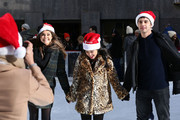 """Actors Maia Mitchell, Carrie Ramirez and David Lambert attend ABC's """"25 Days Of Christmas"""" Celebration at Cucina at Rockerfellar Center on December 7, 2014 in New York City."""