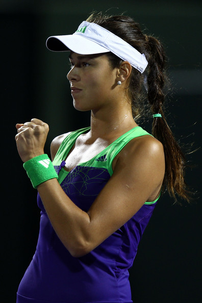 Ana Ivanovic Ana Ivanovic of Serbia reacts against Kimiko Date-Krumm of Japan during the Sony Ericsson Open at Crandon Park Tennis Center on March 25, 2011 in Key Biscayne, Florida.