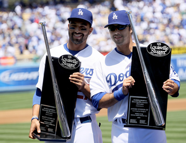 Matt Kemp #27 and Andre Ethier #16 of the Los Angeles Dodgers receive their Silver Slugger awards before the game with the Arizona Diamondbacks on April 13, 2010 at Dodger Stadium in Los Angeles, California.  The Dodgers won 9-5.