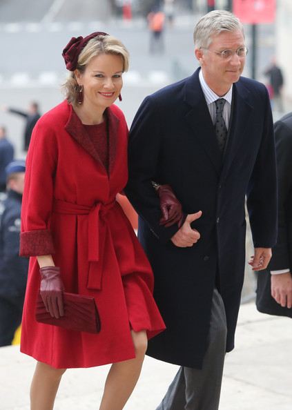 Princess Mathilde and Prince Philippe of Belgium arrive at Cathedrale des Saints-Michel-et-Gudule on November 15, 2012 in Brussels, Belgium.