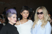 (L-R) Kelly Osbourne, Zendaya, and Kesha attend the Christian Siriano Fashion Show at ArtBeam on February 14, 2015 in New York City.