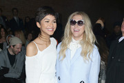 Zenday (L)and Kesha attend the Christian Siriano Fashion Show at ArtBeam on February 14, 2015 in New York City.