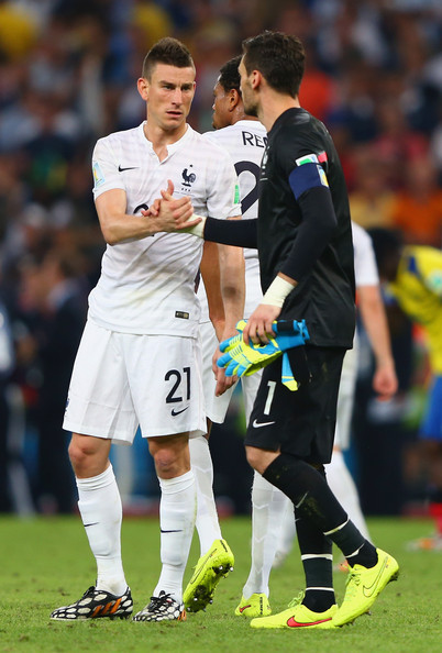 Laurent Koscielny and Hugo Lloris of France react after a 0-0 draw during the 2014 FIFA World Cup Brazil Group E match between Ecuador and France at Maracana on June 25, 2014 in Rio de Janeiro, Brazil.