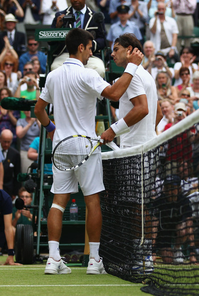 Novak Djokovic Novak Djokovic of Serbia (L) shakes hands with Rafael Nadal of Spain after winning his final round Gentlemen's match on Day Thirteen of the Wimbledon Lawn Tennis Championships at the All England Lawn Tennis and Croquet Club on July 3, 2011 in London, England.