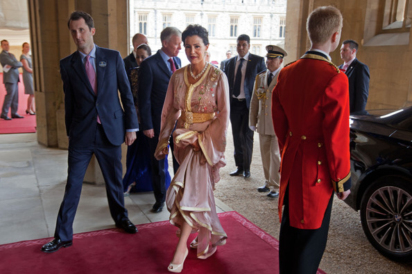 Princess Lalla Meryem of Morocco arrives at a lunch For Sovereign Monarchs in honour of Queen Elizabeth II's Diamond Jubilee, at Windsor Castle, on May 18, 2012 in Windsor, England.