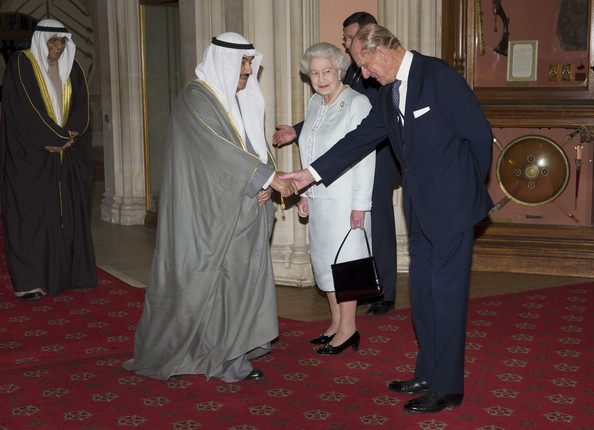 Queen Elizabeth II and Prince Philip, Duke of Edinburgh greet  The Crown Prince of Abu Dhabi, Sheikh Nasser Mohammed Al-Ahmed Al-Sabah of Kuwait as he arrives at a lunch for Sovereign Monarch's held in honour of Queen Elizabeth II's Diamond Jubilee, at Windsor Castle, on May 18, 2012 in Windsor, England.