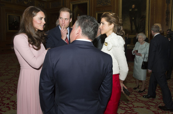 Catherine, Duchess of Cambridge and Prince William, Duke of Cambridge speak with King Abdullah ll of Jordan and wife Queen Rania of Jordan during a reception in the Waterloo Chamber, before the Lunch For Sovereign Monarchs at Windsor Castle, on May 18, 2012 in Windsor, England.