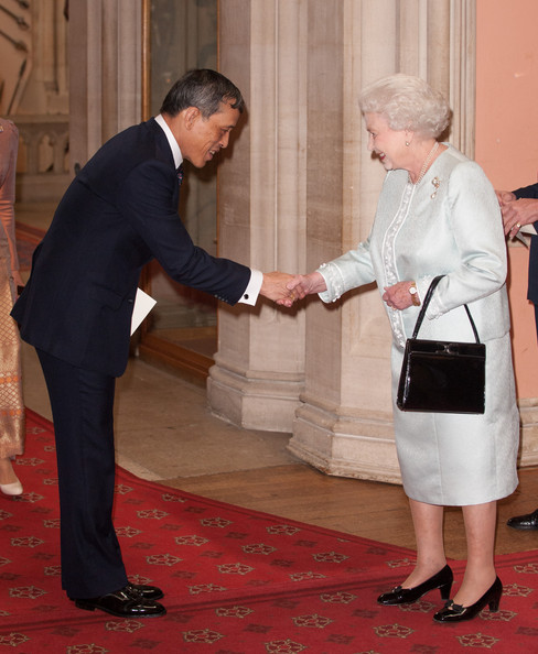 The the Crown Prince of Thailand Maha Vajiralongkorn is greeted by Queen Elizabeth II at lunch For Sovereign Monarchs in honour of Queen Elizabeth II's Diamond Jubilee, at Windsor Castle, on May 18, 2012 in Windsor, England.