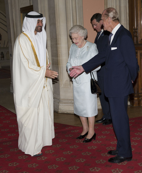 Queen Elizabeth II and Prince Philip, Duke of Edinburgh greet  The Crown Prince of Abu Dhabi, Sheikh Mohammed bin Zayed Al Nahyan as he arrives at a lunch for Sovereign Monarch's held in honour of Queen Elizabeth II's Diamond Jubilee, at Windsor Castle, on May 18, 2012 in Windsor, England.