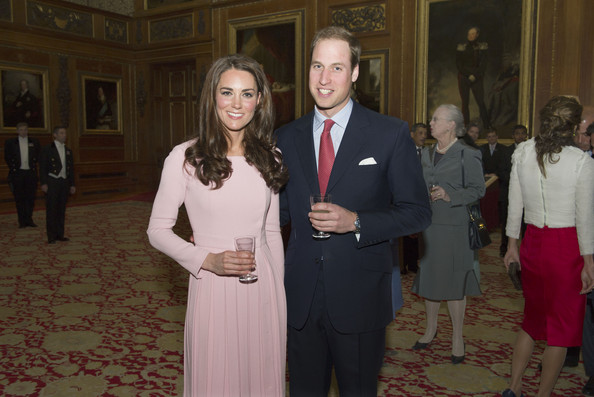 Catherine, Duchess of Cambridge and Prince William, Duke of Cambridge during a reception in the Waterloo Chamber, before the Lunch For Sovereign Monarchs at Windsor Castle, on May 18, 2012 in Windsor, England.