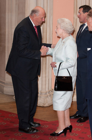 King Harald V of Norway is greeted by Queen Elizabeth II at a lunch For Sovereign Monarchs in honour of Queen Elizabeth II's Diamond Jubilee, at Windsor Castle, on May 18, 2012 in Windsor, England.