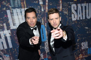 Comedian Jimmy Fallon (L) and Justin Timberlake attend SNL 40th Anniversary Celebration at Rockefeller Plaza on February 15, 2015 in New York City.