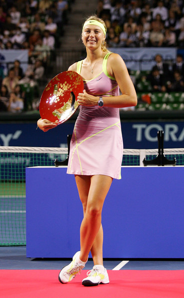 Maria Sharapova Maria Sharapova of Russia poses with the trophy after winning the women's final match against Jelena Jankovic of Serbia during day seven of the Toray Pan Pacific Open Tennis tournament at Ariake Colosseum on October 3, 2009 in Tokyo, Japan.