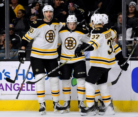 Zdeno Chara, Patrice Bergeron, Charlie McAvoy - Boston Bruins v Los Angeles Kings
