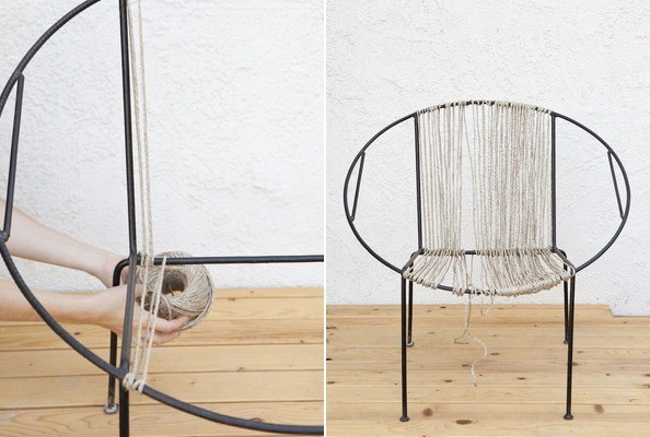 bungee cord chair diy four dining set how to restring a knit wit style do it yourself projects knitwit