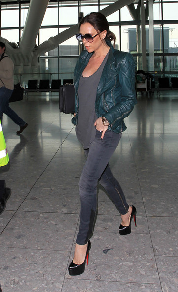 "Victoria Beckham Pregnant Victoria Beckham, who announced this week that she is expecting a girl, strutts through Heathrow airport. The former Spice Girl looked every inch the yummy mummy-to-be in her skinny jeans, leather jacket and towering Louboutins! Yesterday, her husband David revealed at LA Galaxy's annual fan luncheon in LA, ""Obviously, we're very lucky to be expecting again, and this is the first time I'm going to say it: It's a little girl."" The latest addition to the Beckham clan is due in July."