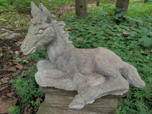 "vintage cement 15"" long lying horse"