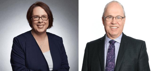 (La présidente sortante Sylviane Lanthier (à gauche) sera opposée à Jean Johnson (à droite). Montage #ONfr_