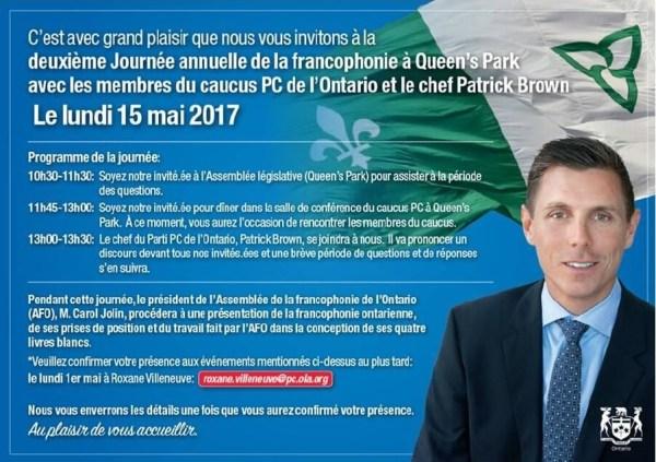 L'invitation envoyée par le PC de l'Ontario aux francophones