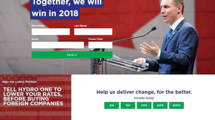 Une capture d'écran du nouveau site web du Parti progressiste-conservateur de l'Ontario disponible uniquement en anglais.