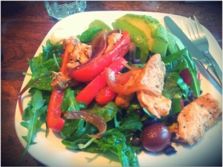 Chicken fajita salad for lunch