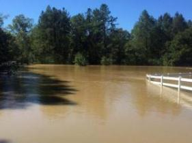 WRAL's Nick Stevens says the Neuse River has swamped the Neuse River Trail at Shotwell Road in Clayton.