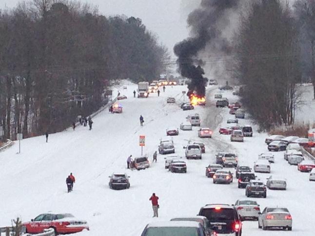 raleigh highway 70 glenwood ave snowmegaddon cars backup chaos meme
