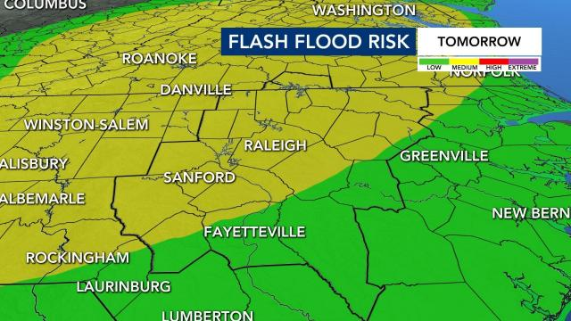Flash flood risk issued for Wednesday