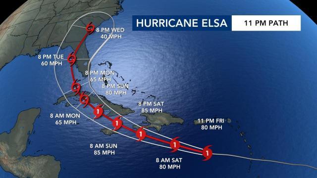 11 p.m. path for Hurricane Elsa