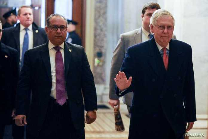 U.S. Senate Majority Leader Mitch McConnell (R-KY) arrives at the U.S. Capitol for the Senate impeachment trial of President…