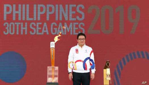 Philippines Southeast Asian Games Organising Committee Chief Opening Officer Ramon Suzara poses with the Southeast Asian Games…