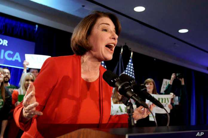 Democratic presidential candidate Sen. Amy Klobuchar, D-Minn., speaks to supporters at her caucus night campaign rally in Des…