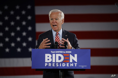 Democratic presidential candidate former Vice President Joe Biden speaks during a campaign event, Oct. 23, 2019, in Scranton, Pennsylvania.