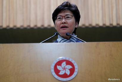 Hong Kong's Chief Executive Carrie Lam addresses a news conference in Hong Kong, China November 11, 2019. REUTERS/Tyrone Siu