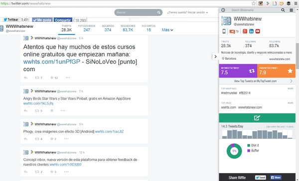 riffle analisis twitter chrome