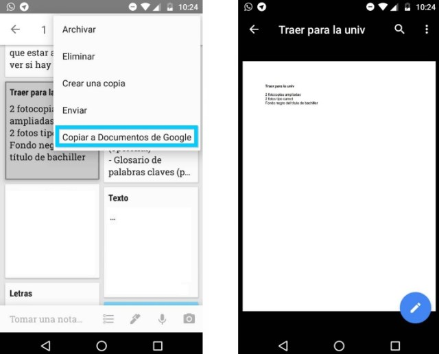 Documentos Google Keep