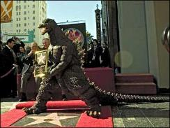 Godzilla accepting his star on the Wall of Fame. Filled with emotion, Godzilla merely roared.