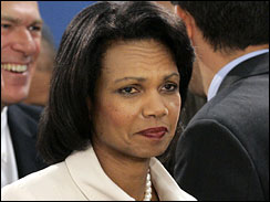 Secretary of State Condoleezza Rice grimaces as she attends an emergency NATO foreign minister meeting in Brussels, Aug. 19, 2008.