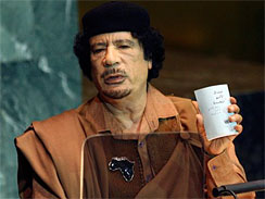 Libyan leader Muammar Qaddafi addresses the 64th session of the General Assembly at United Nations headquarters, Wednesday, Sept. 23, 2009.