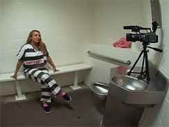 Marjorie Orbin records her video diary from a cell in the Estrella Jail in Phoenix, Ariz.