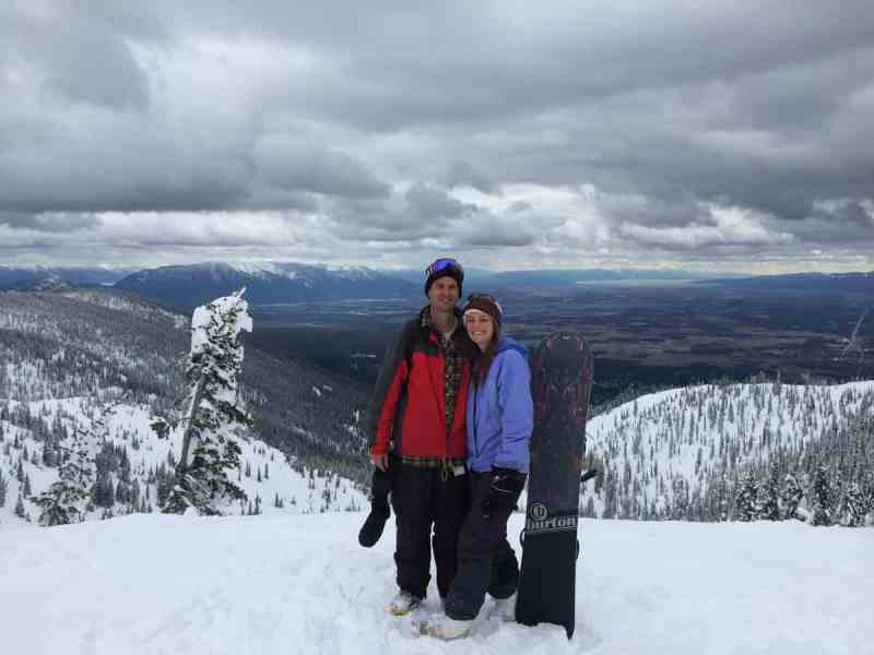 Katelyn and Dylan snowboarding in Kalispell, MT