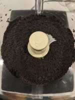Oreo crumbs that have been processed in a food processor