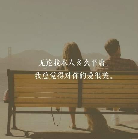 图片带字:无论我本人多么平庸,我总觉得对你的爱很美