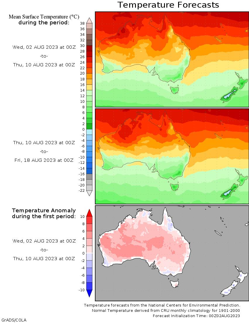 temperature map of Australasia